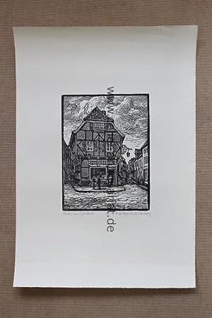 Dorsten, am Drubbel - Schöner Original-Holzschnitt, unten links mit Signet: Everz, H. (1882 - ...