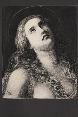 Marienporträt mit Heiligenschein - Schöne Kohlezeichnung: Heinrichsdorff, Wilhelm (geb. ...