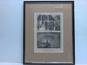 Ein Zinnschmelzofen. Der Rohofen zu Halsbrücke - Lithographie, gezeichnet von E. Meutzner: ...