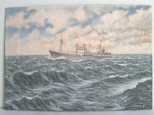 Schiff auf hoher See - Acrylmalerei auf Papier,: Sasse, H.
