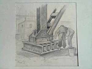 Zwei Arbeiter am Brückenpfeiler - Bleistiftzeichnung: Puder, E.