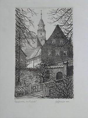 """Bischofswerda (Sachen) """"Am Kirchpark"""" - Original Kaltnadelradierung: Schneider, Fritz (..."""