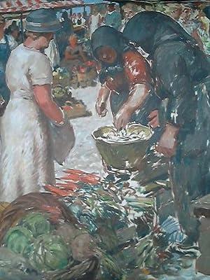 Auf dem Markt - Öl auf Leinwand: Henze-Dessau, Max (1889 Dessau - ca. 1955 Göttingen)