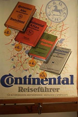 Farbiges Werbeplakat mit der Aufschrift Continental Reiseführer: Continental-Werbeplakat
