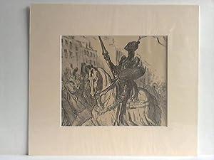 Ritter in schwarzer Rüstung auf einem Pferd, reitet durch die Menge - Lithographie: Daumier, ...