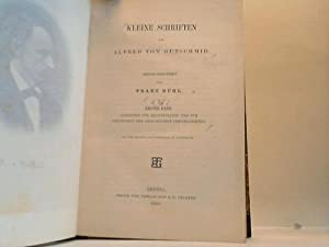 Kleine Schriften von Alfred von Gutschmid. 1. Band: Rühl, Franz (Hrsg.)