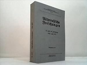 Altpreußische Forschungen. 13. und 14. Jahrgang 1936 und 1937: Verein für Familienforschung ...