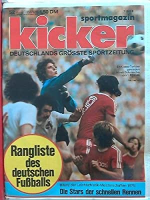 Jahrgang 1975, 104 Nummern in 2 Ordnern: Kicker-Sportmagazin