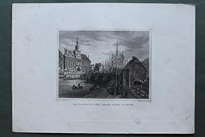 Das Rathaus & der innere Hafen in Emden. Stahlstich, gezeichnet von L. Rohbock: Poppel, Joh.