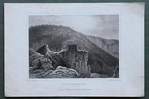 Die Rosstrappe im Harz - Original-Stahlstich, gezeichnet von L. Rohbock: Fesca, A.