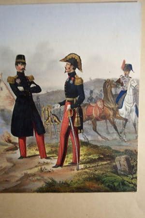 Mayor u. Generalmayor / Husar im Hintergrund: Uniformen Königreich Frankreich