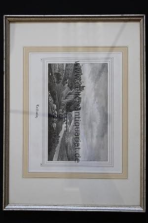 Landschaft - Lithographie: Leissnig / Sachsen