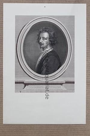 Kupferstich von G. Bertinot - Brustportrait von der Originalplatte: Van Dyck, Ant