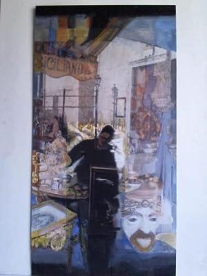 1 Collage: Auf dem Markt mit Händler - Malerei auf Farbdruck von Photographie sowie auf ...