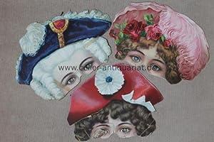 4 Karnevals-Halbgesichtsmasken aus Pappmaché (1 Doublette): Masken