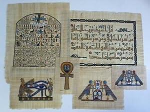 Original Tuschezeichnungen nach alten Motiven. 6 Blatt: Papyrusbilder / Ägypten