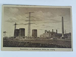 Postkarte: Braunkohle- u. Großkraftwerk Böhlau bei Leipzig: Böhlen