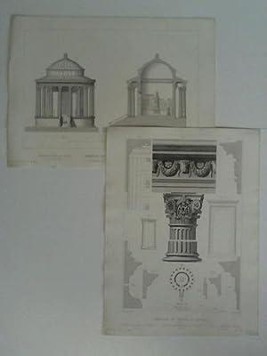 Temple de Vesta à Tivoli - 2 Stahlstiche, gestochen von Bury et Ribault, nach J. A. Leveil: ...