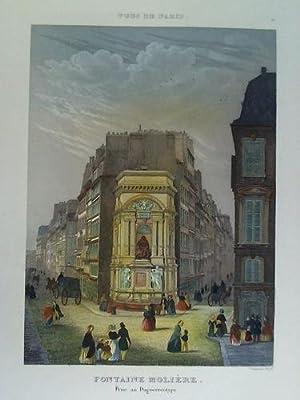 Fontaine Molière. Prise au Daguerreotype - Colorierter Stahlstich, nach einer Daguerreotypie...