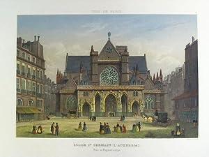Église St. Germain L'Auxerrois. Prise au Daguerreotype - Colorierter Stahlstich, nach ...