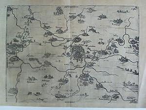 Hugenottenkrieg - Karte aus der Vogelschau im Kupferstich: Hogenberg, Frans (1535 - 1590)