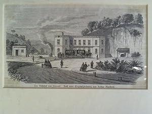 Der Bahnhof von Frascati - Holzstich, nach einer Originalzeichnung von Arthur Blaschnik: Frascati