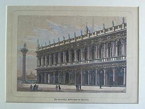 Die ehemalige Bibliothek in Venedig - Handcolorierter Original-Holzstich: Venedig