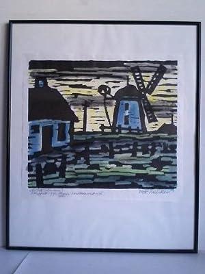 """Mühle"""" (Aurum) - Handcolorierter Holzschnitt (Repro/Offset): Huisken, Dirk (1911, ..."""