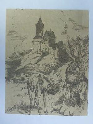 Burg Frankenstein (Odenwald) - Umrißradierung mit Aquarellfarben: Chodowiecki, Daniel (Nikolaus)