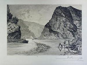 Loreley (Lorelei) - Original-Radierung: Mannfeld, Bernhard (1848,