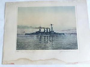 """Linienschiff ,,Hannover"""". Original Frabradierung um 1931: Harms-Rüstringen, Georg"""
