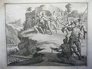 """3 verschiedene Kupferstiche (u.a. """"Maniere des Indiens sur la conctruction de leurs canoes&..."""