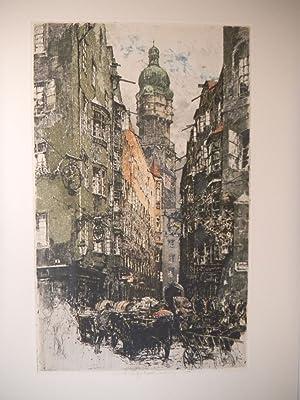 Innsbruck, Altstadt mit dem Stadtturm].: KASIMIR, Luigi. Graphiker (1881-1962).