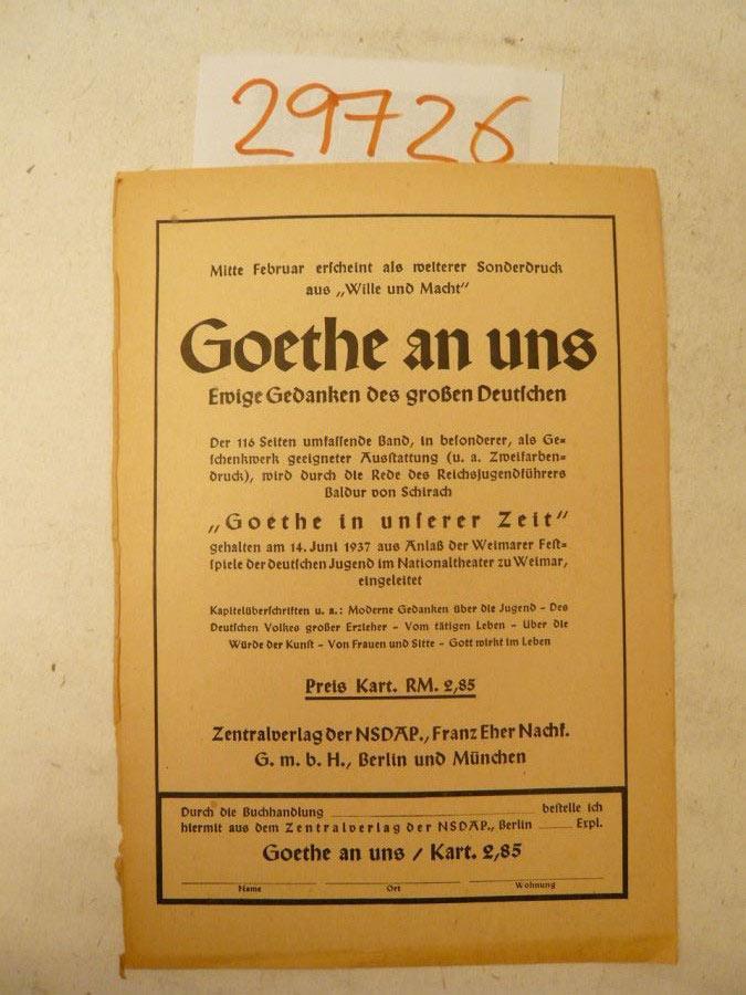 """Verlagswerbung zu: Sonderdruck aus """"Wille und Macht"""",: Zentralverlag der NSDAP"""