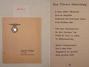 Adolf Hitler von Gott gesandt. Gedichte von: Schlitzberger, Friedl: