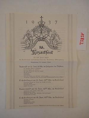 16.Mozartfest 12. Juli bis 16.Juni 1937 im Kaisersaal und Hofgarten der Residenz Würzburg, ...