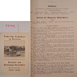 Personal- und Vorlesungs-Verzeichnis Studienjahr 1939/1940 (Sommer-Semester 1939 / ...