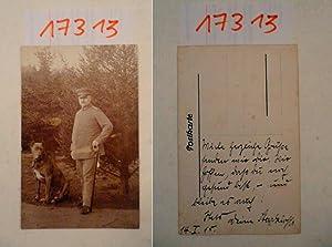 Original-Foto: deutscher Offizier mit Deutscher Dogge, von 1915