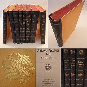 Reichsgesetzblatt Teil I Jahrgang 1925 -1932 * 8 Bände jeweils im Original-Verlagseinband: ...