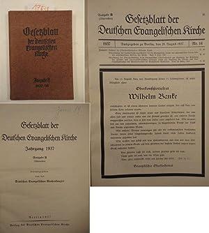 Gesetzblatt der Deutschen Evangelischen Kirche 1937 - 1938 Ausgabe B (Altpreußen): Deutsche ...