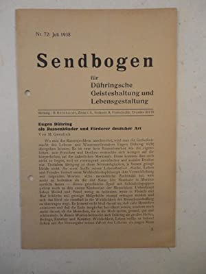 Sendbogen für Dühringsche Geisterhaltung und Lebensgestaltung Nr.712 / Juli 1938: ...