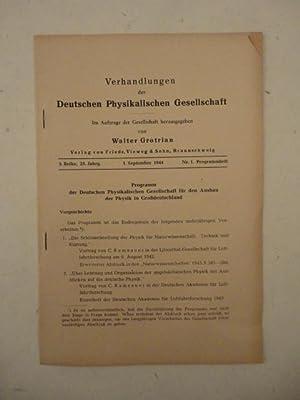 Verhandlungen der Deutschen Physikalischen Gesellschaft, Nr. 1 Programmheft vom 1.September 1944, 3...