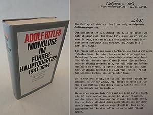 Adolf Hitler, Monologe im Führerhauptquartier 1941-1944. Die Aufzeichnungen Heinrich Heims, ...
