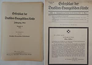 Gesetzblatt der Deutschen Evangelischen Kirche, Jahrgang 1941 Ausgabe A (Reich): Deutsche ...