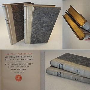 Die Eitelkeit und Unsicherheit der Wissenschaften und die Verteidigungsschrift, herausgegeben von ...
