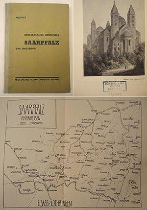 """Deutschlands Grenzgau Saarpfalz und Umgebung * mit Stempel """" A d o l f - H i t l e r - S c h u..."""