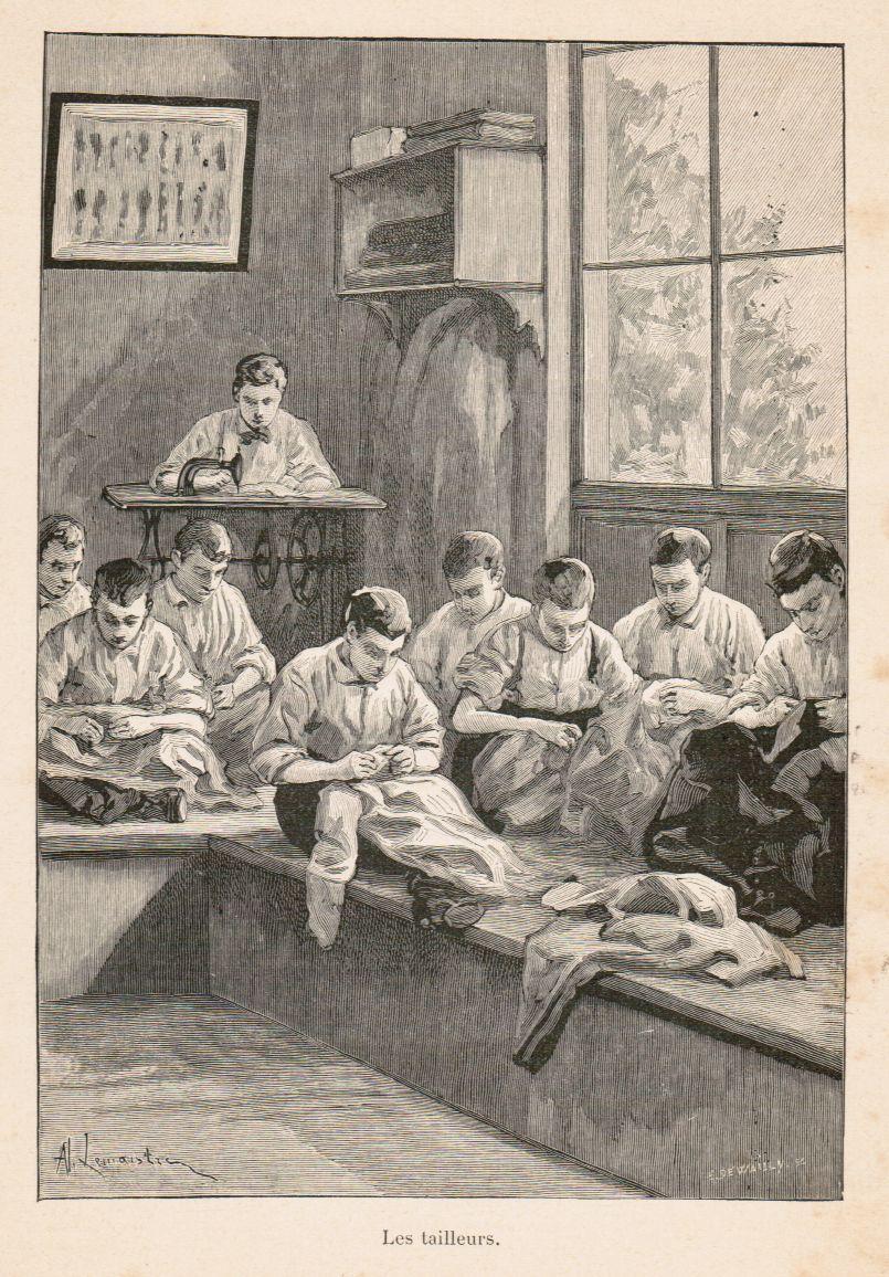 Les Tailleurs. Darstellung einer Werkstattszene: mehrere Lehrlinge: Schneider