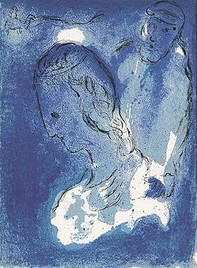 Abraham und Sarah.: Chagall, Marc