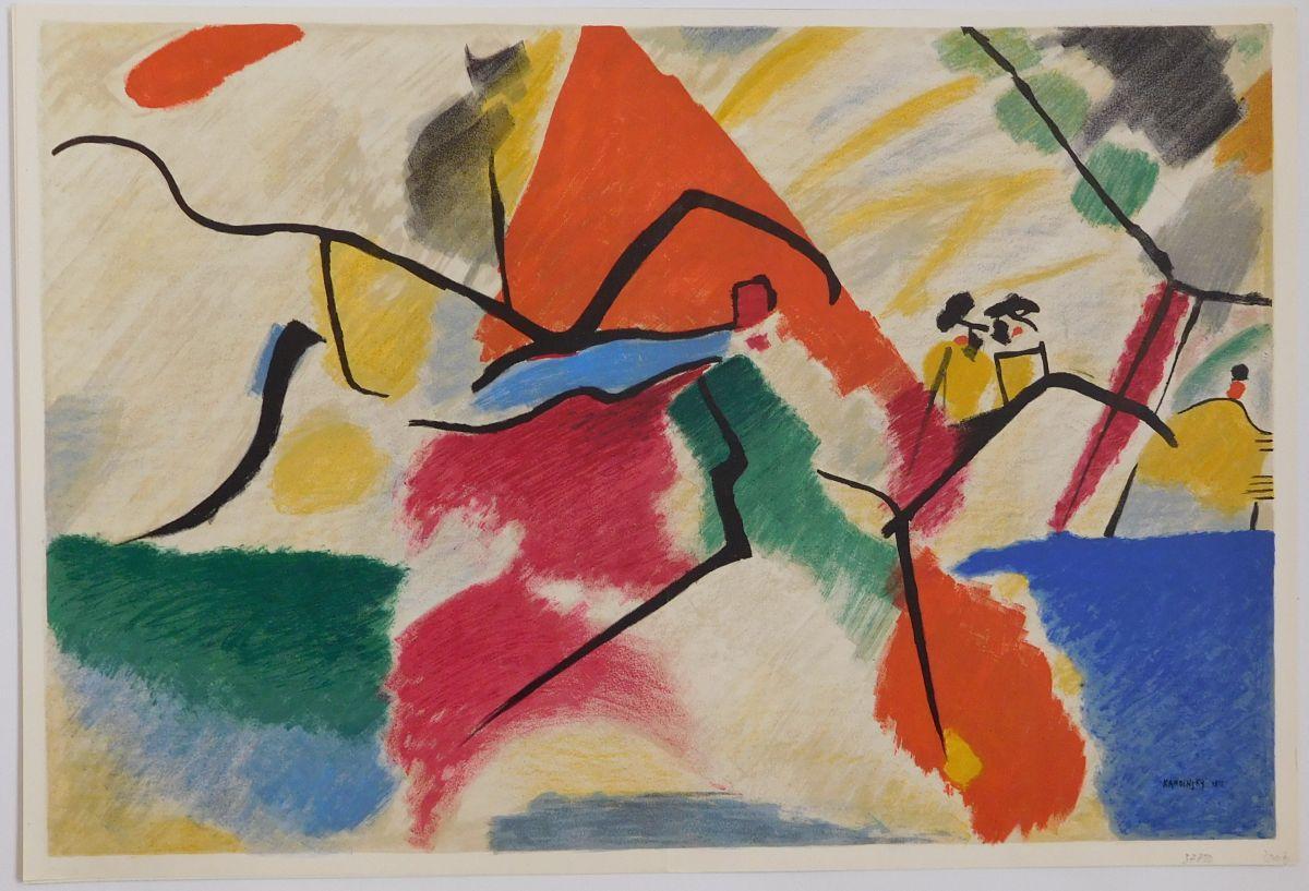 Abstrakte Komposition einer Landschaft in zahlreichen Farben: Kandinsky, Wassily