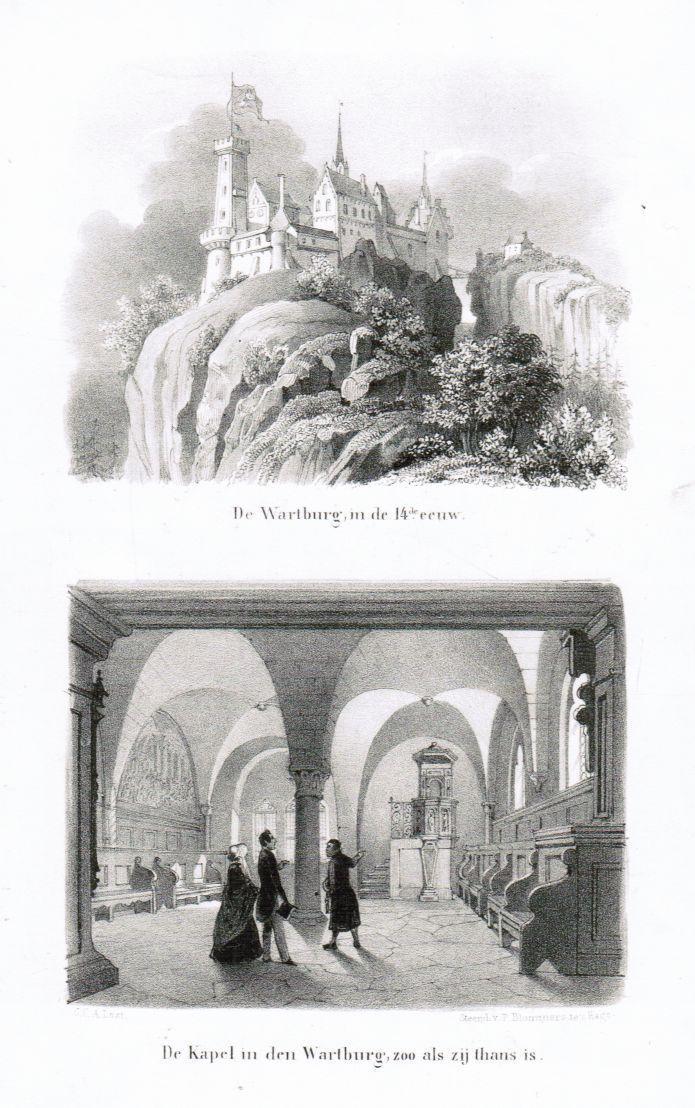 Zwei Ansichten auf einem Blatt: Gesamtansicht der: Eisenach